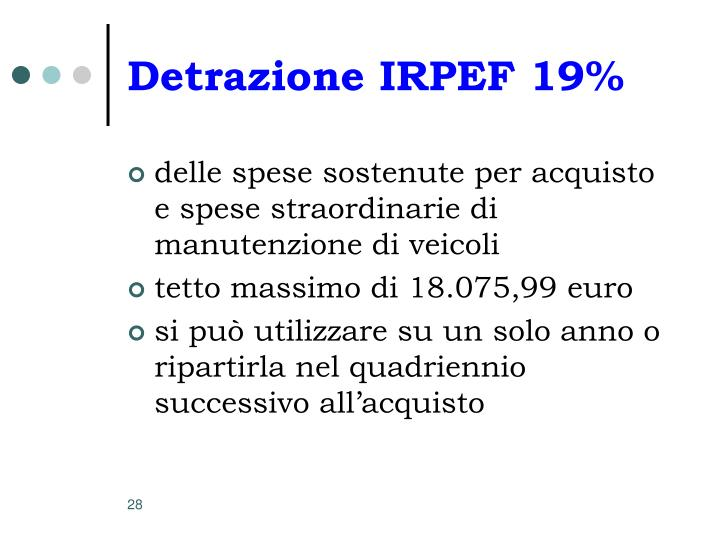 Detrazione IRPEF 19%