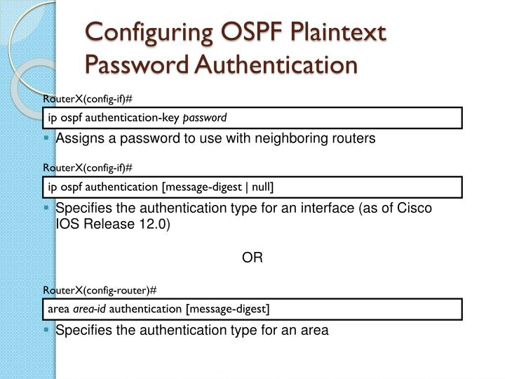 Configuring OSPF Plaintext Password Authentication