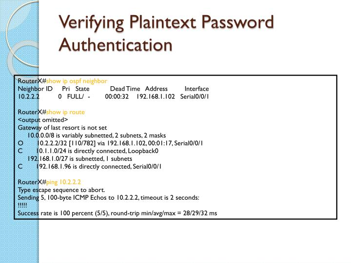Verifying Plaintext Password Authentication