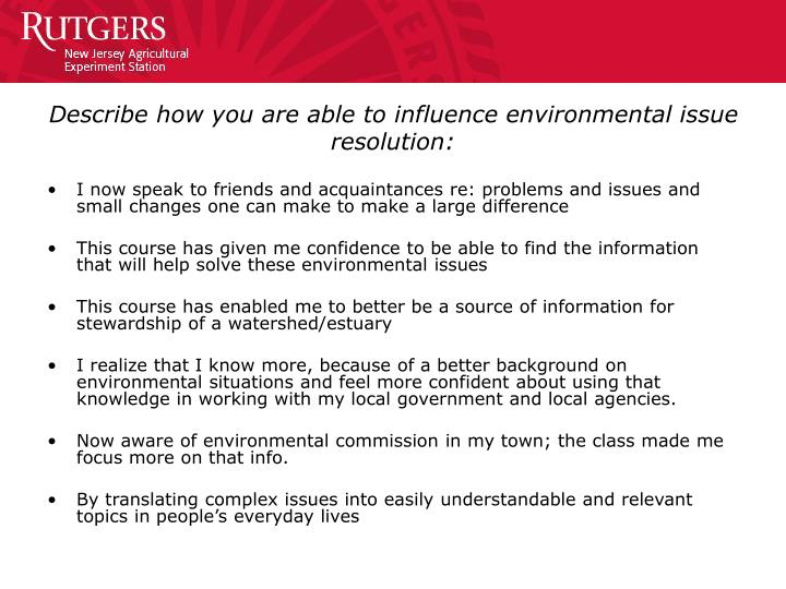 Describe how you are able to influence environmental issue resolution: