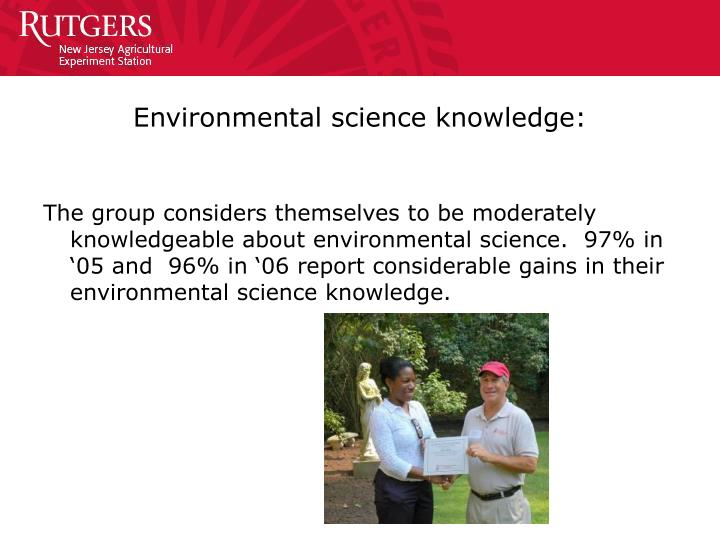 Environmental science knowledge: