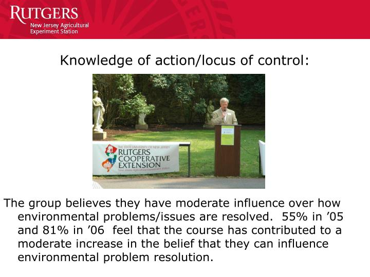 Knowledge of action/locus of control: