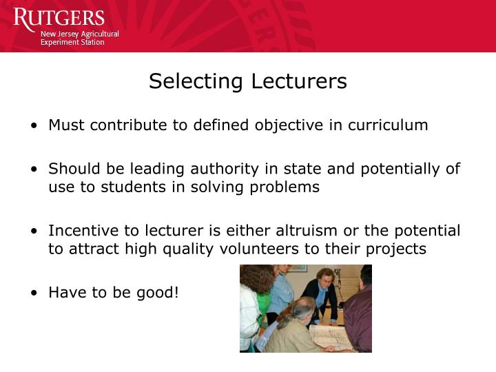 Selecting Lecturers