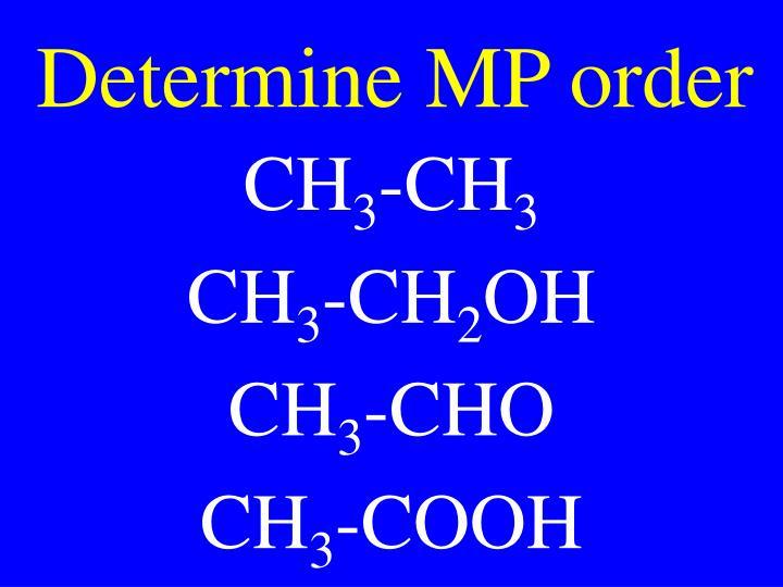 Determine MP order
