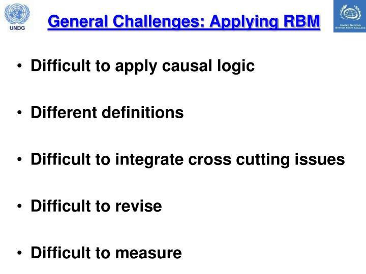 General Challenges: Applying RBM