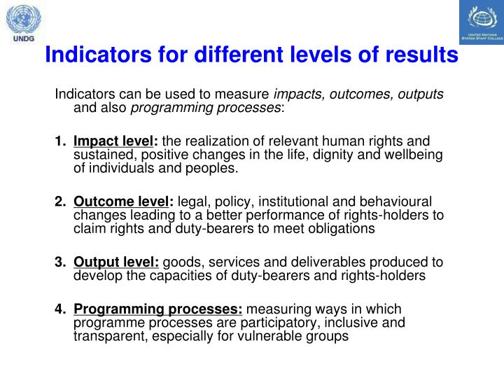 Indicators for different levels of results