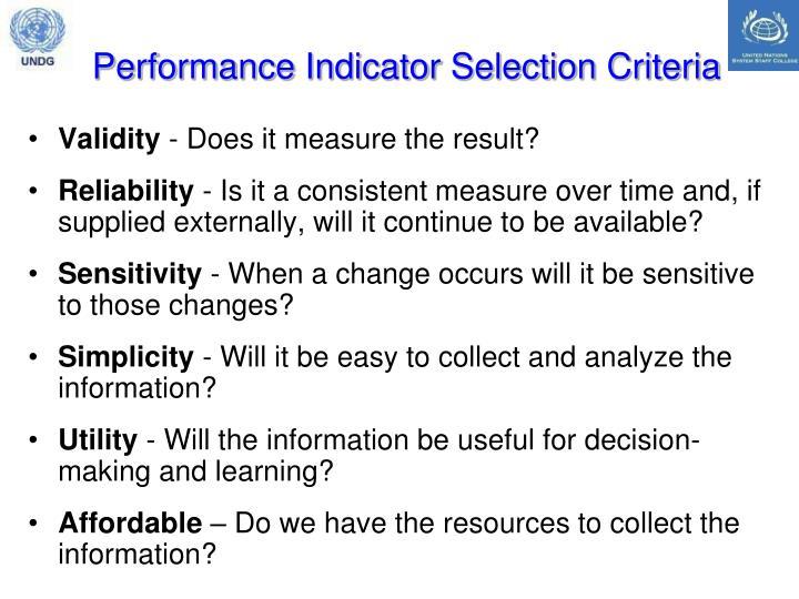 Performance Indicator Selection Criteria
