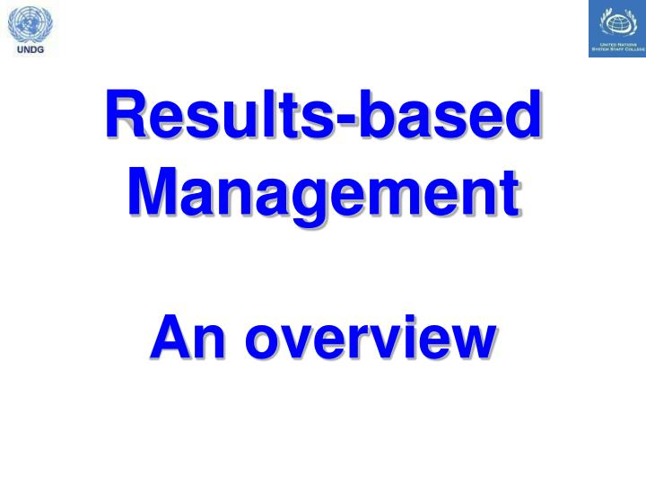Results based management an overview