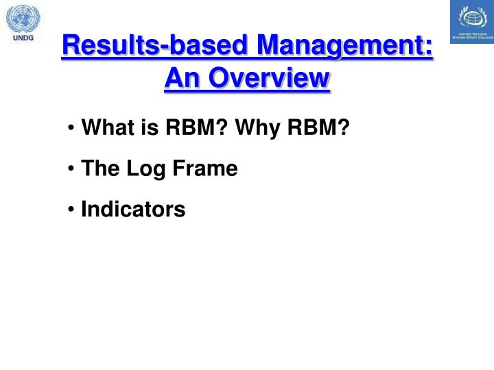 Results-based Management: An Overview