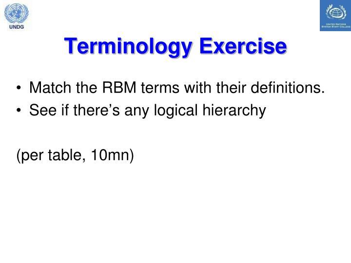 Terminology Exercise