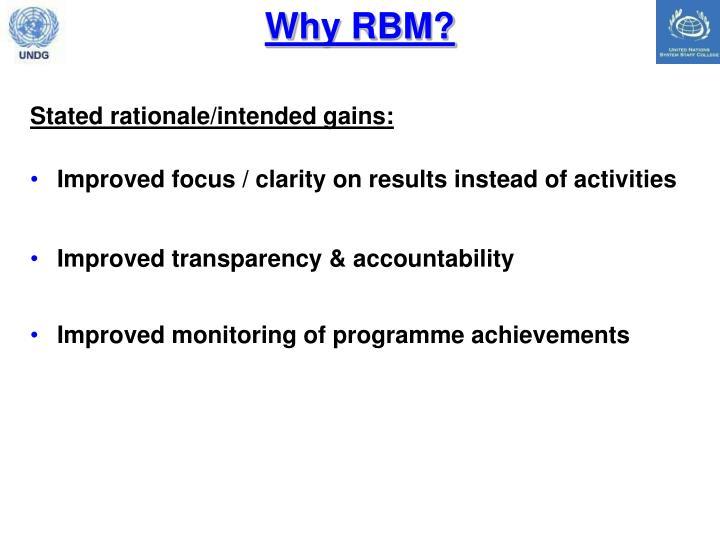 Why RBM?