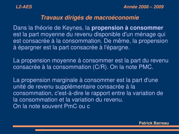 Dans la théorie de Keynes, la