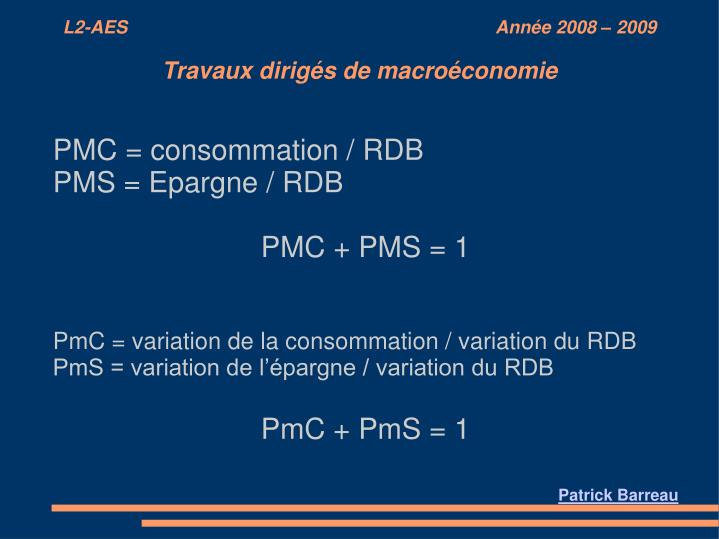 PMC = consommation / RDB