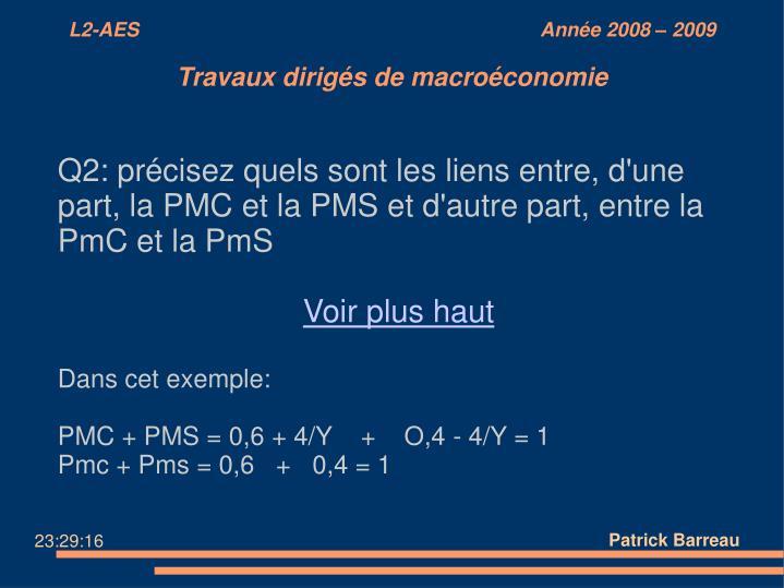 Q2: précisez quels sont les liens entre, d'une part, la PMC et la PMS et d'autre part, entre la PmC et la PmS