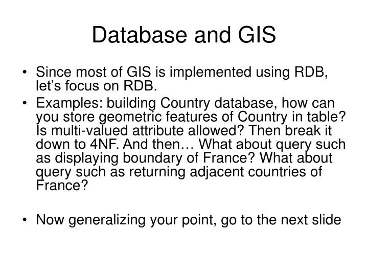 Database and GIS