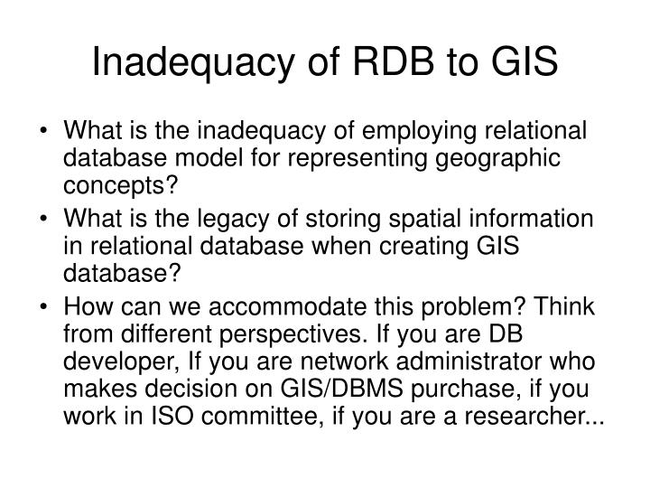 Inadequacy of RDB to GIS