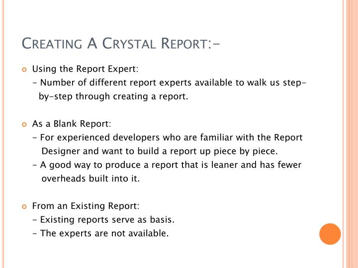 Creating A Crystal Report:-