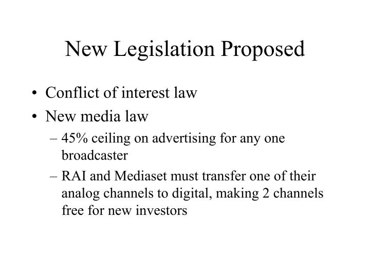 New Legislation Proposed