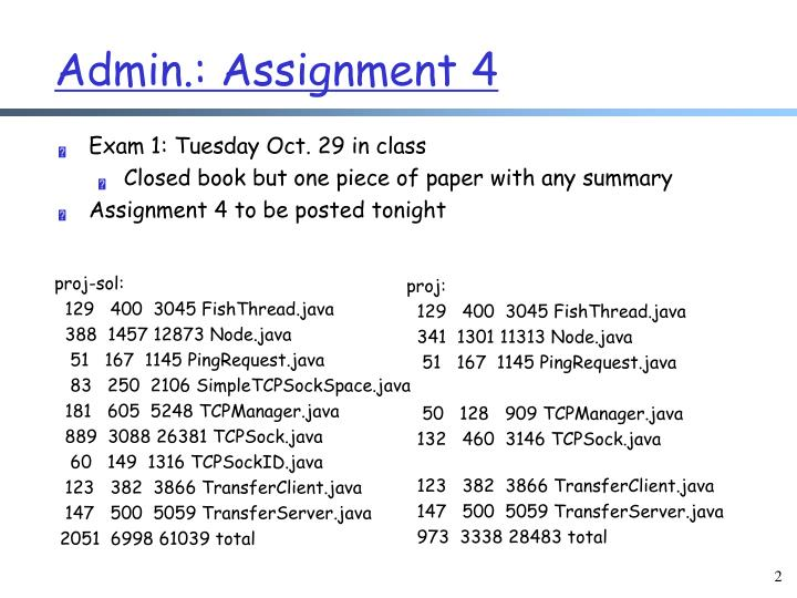 Admin.: Assignment 4