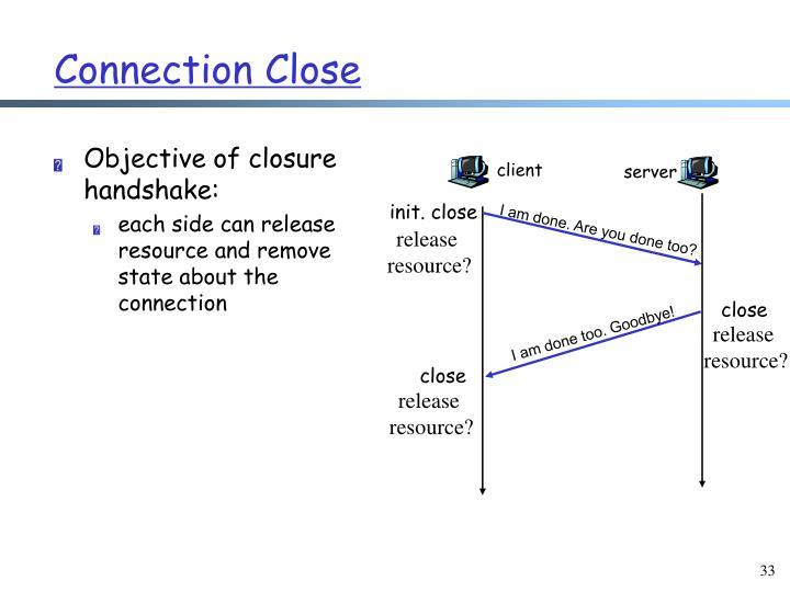 Objective of closure handshake: