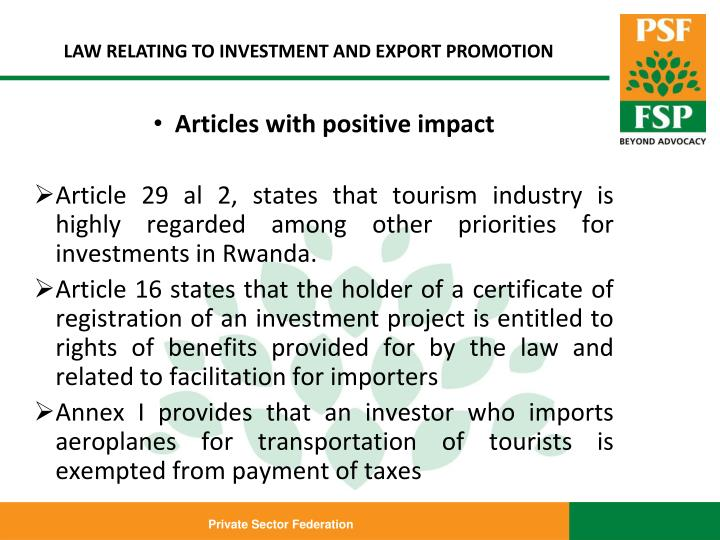 LAW RELATING TO INVESTMENT AND EXPORT PROMOTION