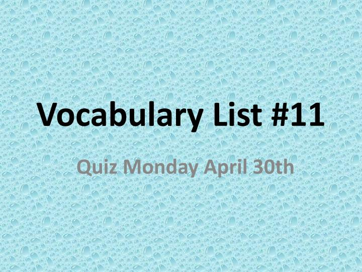 Vocabulary list 11