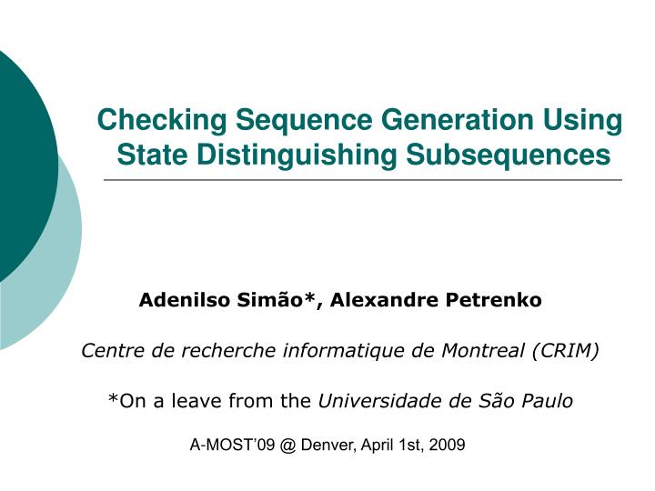 Checking Sequence Generation Using
