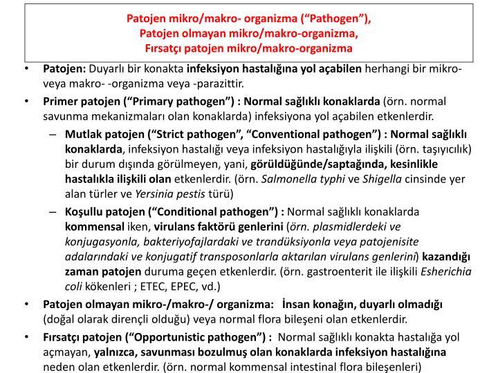 """Patojen mikro/makro- organizma (""""Pathogen""""),"""