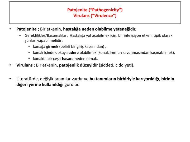 """Patojenite (""""Pathogenicity"""")"""
