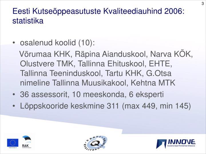 Eesti Kutseõppeasutuste Kvaliteediauhind 2006: