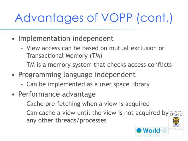 Advantages of VOPP (cont.)
