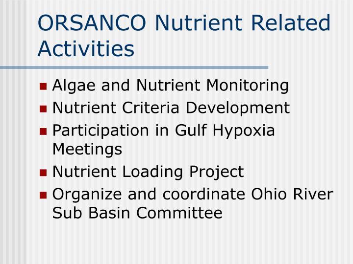 ORSANCO Nutrient Related Activities