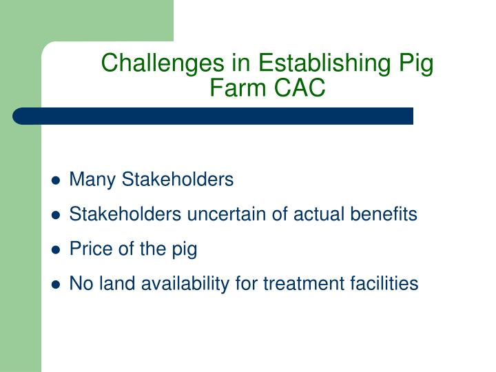 Challenges in Establishing Pig Farm CAC