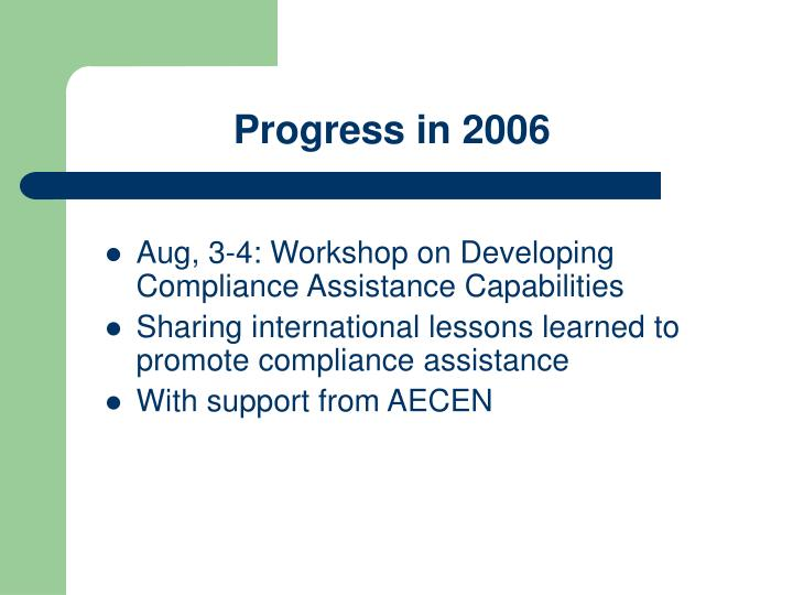 Progress in 2006