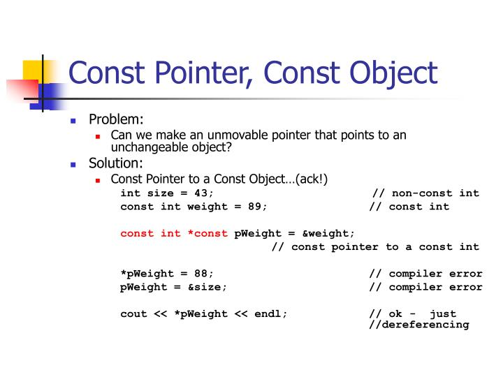 Const Pointer, Const Object
