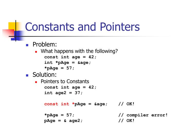 Constants and Pointers