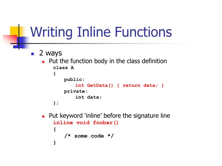 Writing Inline Functions