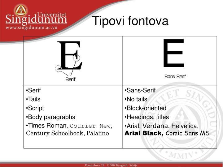Tipovi fontova
