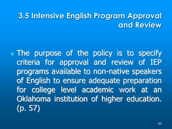3.5 Intensive English Program Approval