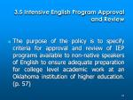 3 5 intensive english program approval and review