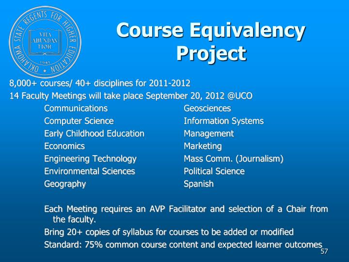 Course Equivalency Project