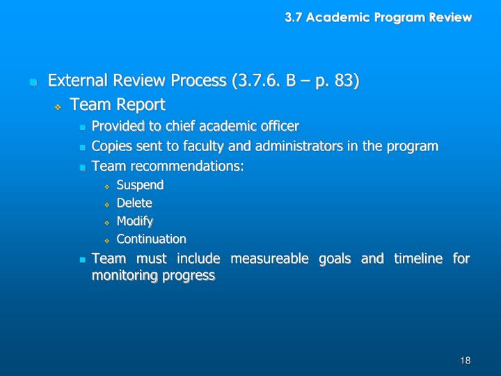 3.7 Academic Program Review