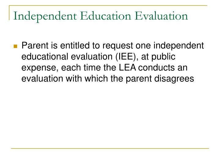 Independent Education Evaluation