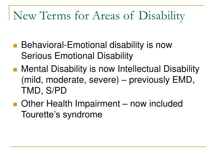 New Terms for Areas of Disability
