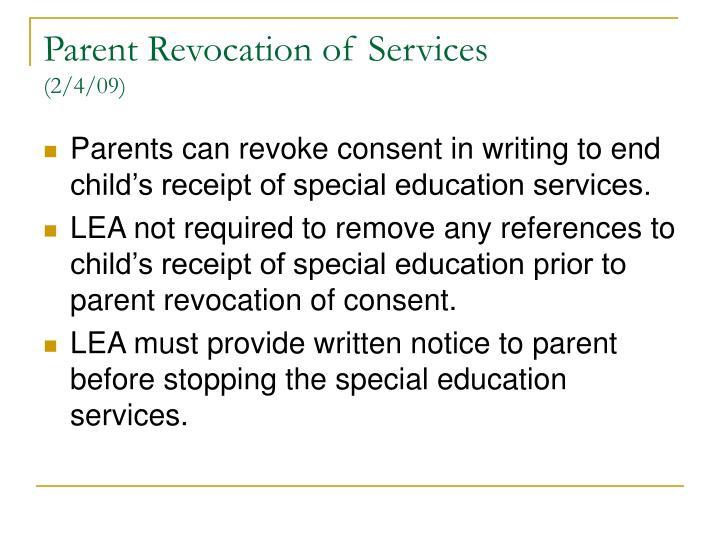 Parent Revocation of Services