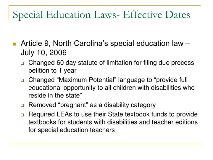 Special education laws effective dates