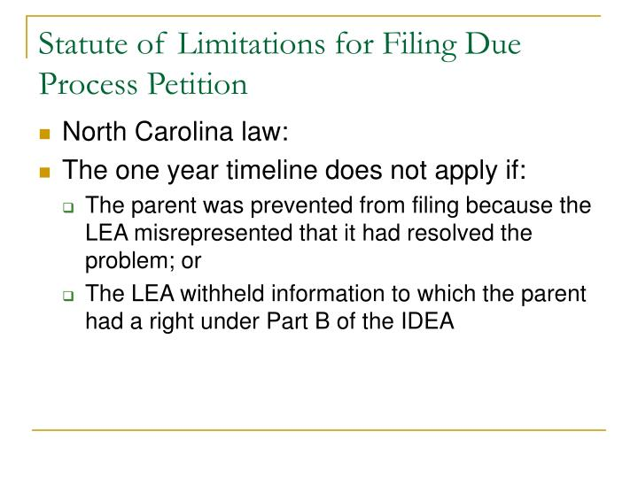 Statute of Limitations for Filing Due Process Petition