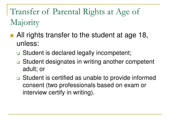 Transfer of Parental Rights at Age of Majority