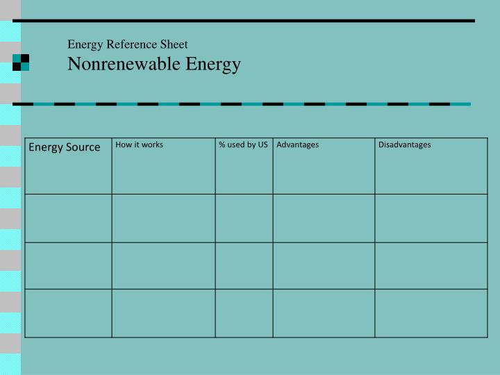 Energy Reference Sheet