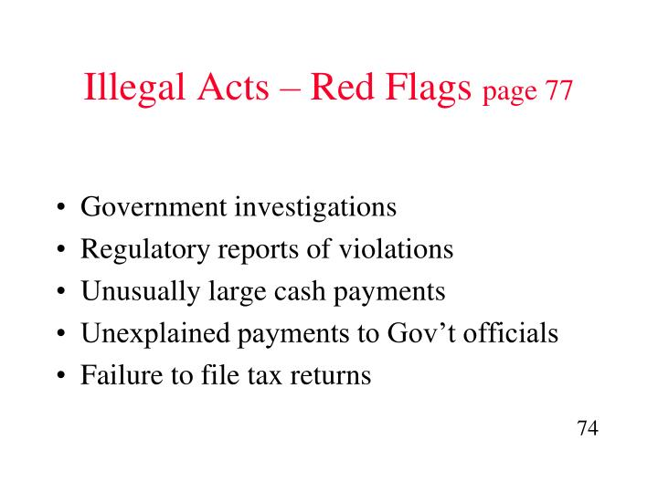 Illegal Acts – Red Flags